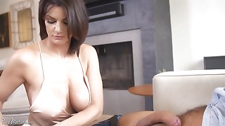 Glamorous mom with big tits takes a dick