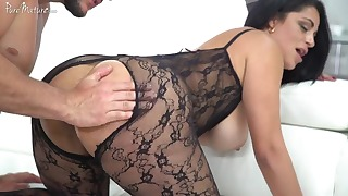 Beautiful mom is sucking on the knees