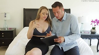 Sensual mom is sucking a massive penis