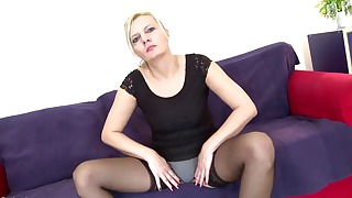 Passionate blonde mom sucks a good dick