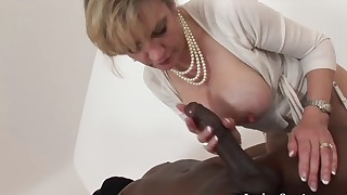 Awesome interracial mom blow tube action