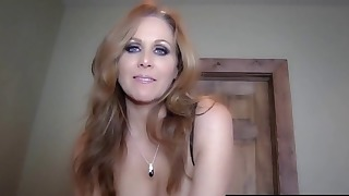 Sensual blue-eyed mom swallows sperm