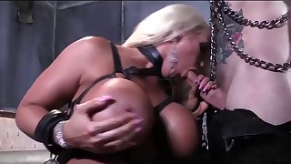 Beautiful blonde MILF sucks a long penis