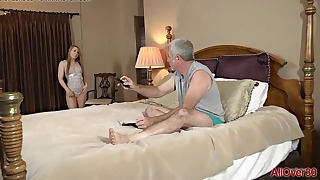 Sweet mom blowjob action in the bed