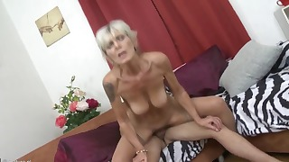 Cute blonde mom opens her tight crack
