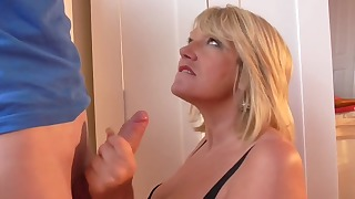 Lusty blonde mom knows how to give a blowjob