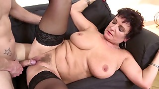 Busty mommy likes his hard young prick