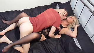 Slutty mom is blowing a hard son dick