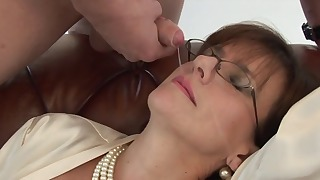 Sensual busty mom plays with a big boner