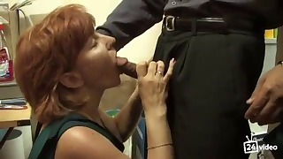 Russian mature mom and boy have sex
