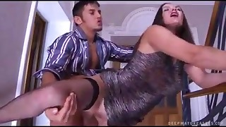 Seduced Russian brunette sucks a dick