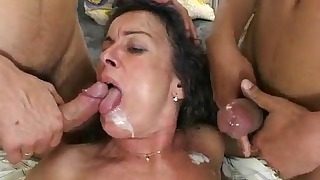 Hot Russian angel and two hard dicks
