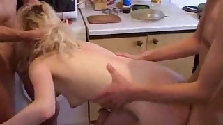 Cute Russian blonde and two young men
