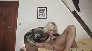 Russian blonde mom fuck with a young man