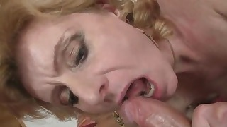 Mature Russian doll rides on a hard cock